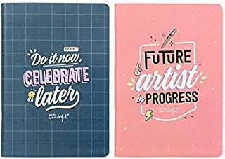 Mr. Wonderful Set of Two A5 notebooks-Do it Now, Celebrate, Multicolor, Talla única