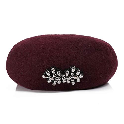 baret vrouwen Franse baret effen kleur artiest muts meisjes winter herfst zachte warme mode hoed, 10 kleuren (kleur: wit) Wijn Rood