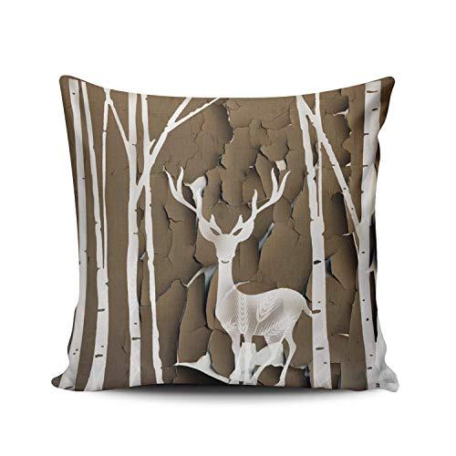SUN DANCE Funda de almohada de color marrón, 60,9 x 60,9 cm, diseño de alce grande