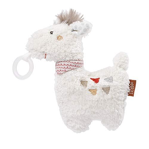 Fehn 058338 Schnullertier Lama – Spieltier mit Rassel und Schnullerhalter, passend für alle Schnuller für Babys und Kleinkinder ab 0+ Monaten