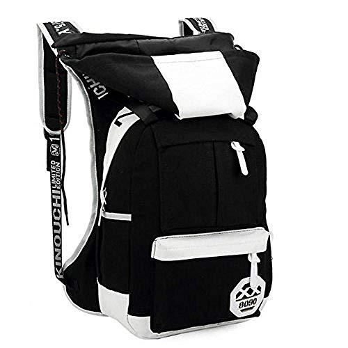 Bkckzzz Unisex Faltbare Kapuzen Canvas Rucksack mit Kapuze Reiserucksack mit Kapuze Schultaschen (Schwarz) @Black