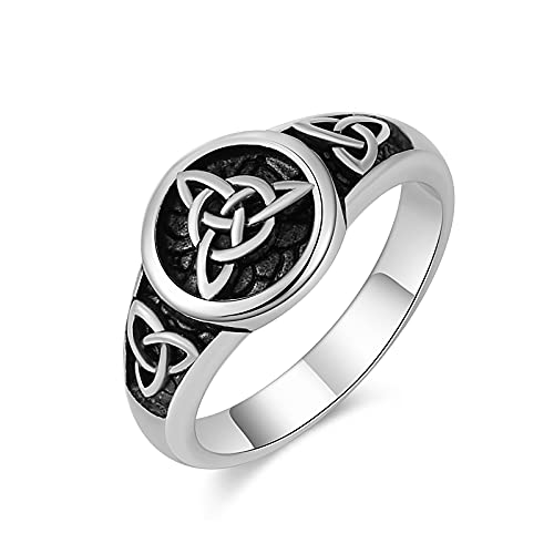 HZMAN Triquetra Trinity Knot Stainless Steel Irish Celtic Knot Ring Size(Silver,11)