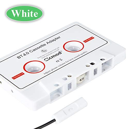 CICMOD Adaptador de Cassette para Coche Cassette Adaptador BT4.0 Receptor Coche con Micrófono Incorporado Manos Libres Transmisor de Audio para Reproductores Blanco