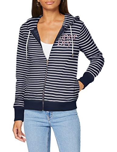 Superdry Damen Applique Serif Ziphood Kapuzenpullover, Blau (Navy Stripe JKC), S (Herstellergröße:10)