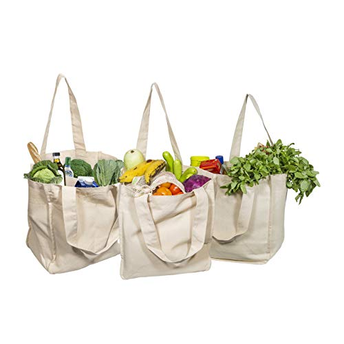 Best Canvas Grocery Shopping Bags - Canvas Grocery Shopping Bags with Handles - Cloth Grocery Tote Bags - Reusable Shopping Grocery Bags - Organic Cotton Washable Eco-friendly Bags 3 Bags