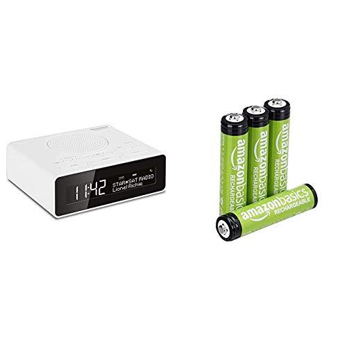 TechniSat Digitradio 51 DAB+ Radiowecker (DAB, UKW, Uhrenradio, Wecker mit Zwei einstellbaren Weckzeiten) weiß & Amazon Basics AAA-Batterien, wiederaufladbar, vorgeladen, 4 Stück