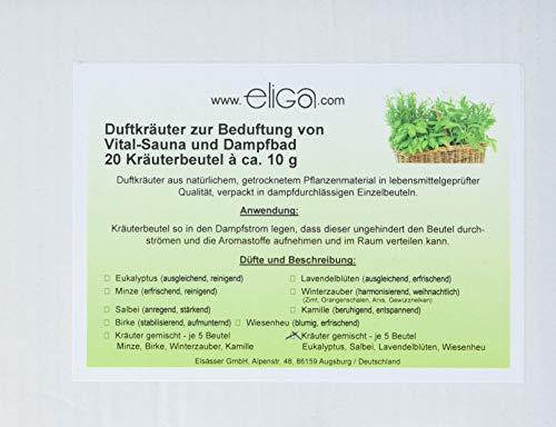 eliga Duftkräuter gemischte Düfte Eukalyptus, Salbei, Lavendelblüten, Wiesenheu, 1er Pack (1 x 20 Stück)