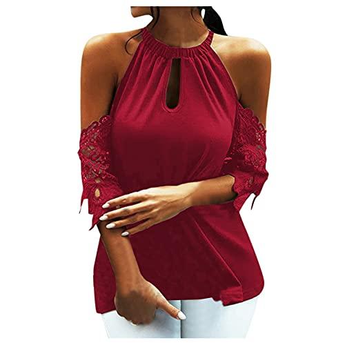 Saingace Camiseta de verano de manga corta para mujer, con hombros descubiertos, sexy, elegante, moderna, monocolor, suelta, para adolescentes y niñas Vino XXL