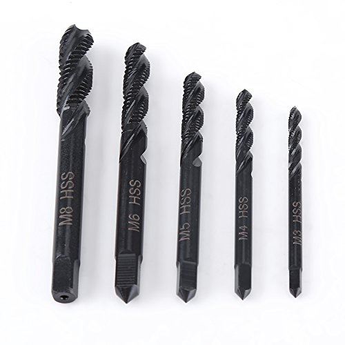 5Pcs Metric Thread M3-M8 Right Hand Spiral Groove Taps Nitriding Coated HSS Taps for Tapping Machine