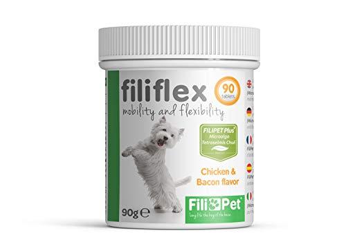 Filipet Glucosamina para Perros, antinflamatorio, condroprotector, Ayuda al Cuidado de Las articulaciones, Huesos, Mejora la Movilidad y flexibilidad de su Perro. Fórmula PETFIT Plus. Filiflex