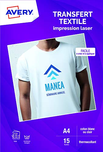 AVERY - Pochette de 15 Papiers Transferts Tee-Shirt ou Textiles Blancs ou Clairs, Personnalisables et Imprimables, Format A4, Impression Laser