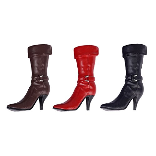 MagiDeal 3 Paires 1/6 échelle Chaussures à Talons Hauts Bottes Marron Rouge Noir en Plastique Accessoires pour 12 Pouces Figurine Action Féminine