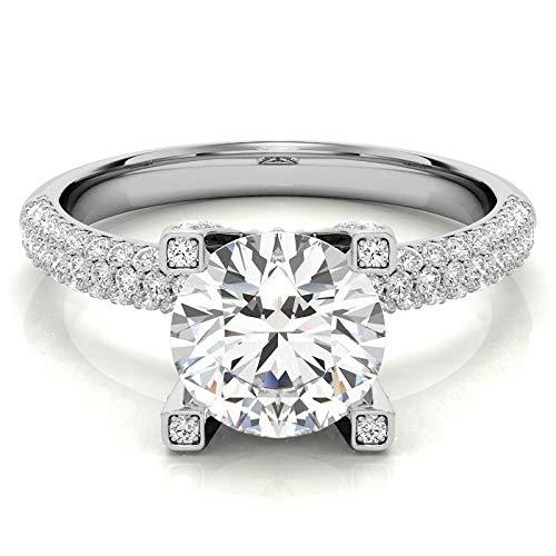 Customize Jewels Anillo de compromiso de moissanita de 3,00 quilates, 9,5 mm, con diamante cultivado en laboratorio, oro blanco de 14 quilates, D-VVS1 7