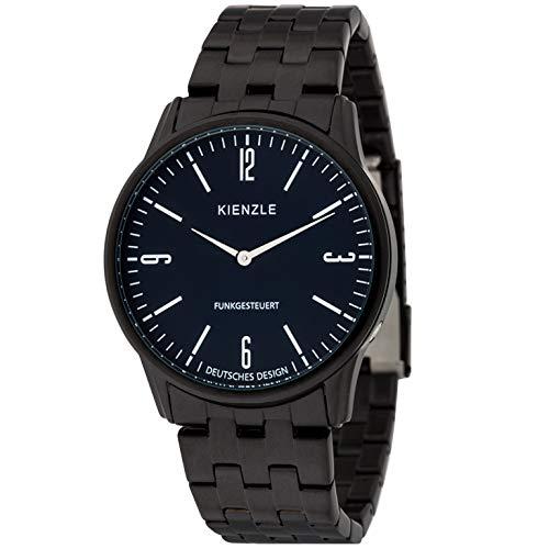 KIENZLE 1822 Herren Armbanduhr Funk Zifferblatt blau Edelstahl schwarz Modell DW-00159