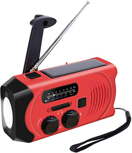 Topsics Radio solar de emergencia con 2000 mAh Power Bank, AM/FM Outdoor Mini Radio portátil con linterna LED, multifunción, pequeña radio con emergencia, alarma SOS – Rojo