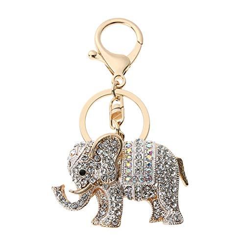 WUCHENG Encanto Afortunado Colgante Mascota Elefante Llavero Llavero Billetera Coche Llavero joyería Regalo para Las Mujeres 3 Colores Llavero (Color : 01)