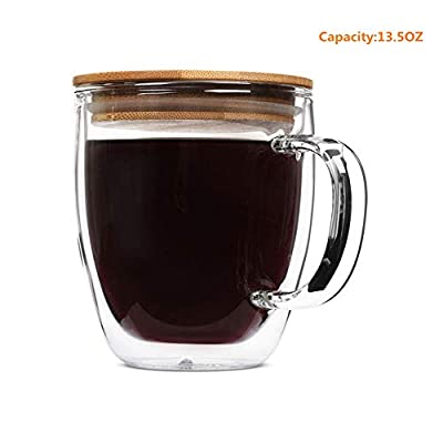 Glass Tea mug, Double Wall Glass Coffee Cups with Bamboo Lid, Tea Cups, Latte Cups, Glass Coffee Mug, Beer Glasses, Latte Mug, Clear Mugs, Glass Cappuccino Cups (400ML/13.5OZ)