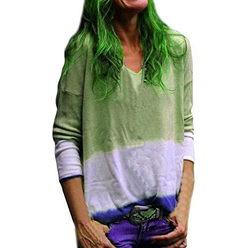 Färbe-Top für Damen, V-Ausschnitt, langärmelig, Blütendesign, Baumwollpullover, Tankweste - Grün - Klein