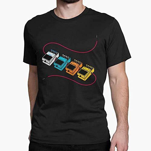 Camiseta Algodão Unissex Básica Pedais de Guitarra Som Musica Rock in roll (Preto, M)