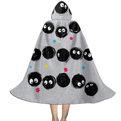 OJIPASD Ojipad Studio Ghibli Sootball - Mantello con Cappuccio, Unisex, per Bambini, per Halloween, Natale, Feste di Ruolo e Cosplay