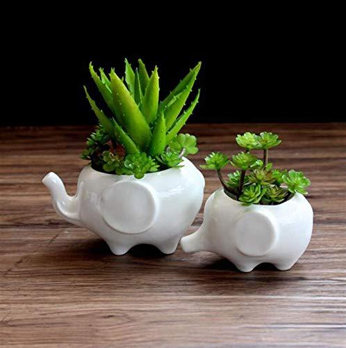 DFBGL Flower pot planters White elephant ceramic pote de vidro garden pots flower vase macetas pot fleur bonsai pots vase for flowers (Color : Elephant13x9x7cm)