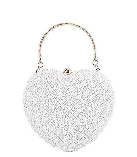 JOEupin Bolsos de vestir Bolsos de noche para mujer Embragues monedero cadena perlas boda, White, Medium