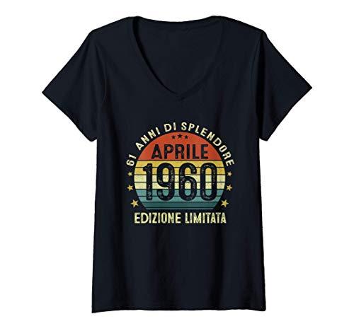 Donna 61 Anni Compleanno Uomo Donna Regalo Vintage Aprile 1960 Maglietta con Collo a V