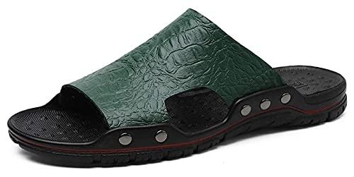 Wzqwzj Zapatillas de verano para hombre, sandalias antideslizantes de piel para exteriores, sandalias informales de gran tamaño, zapatos de baño (color: verde oscuro, tamaño: 44)