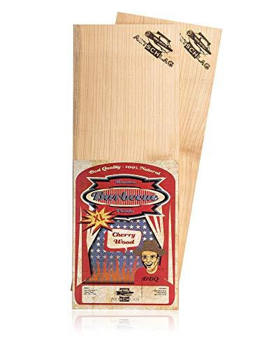 Axtschlag XL Grillbretter Kirsche, 2 Wood Planks für größere Filets & Braten, schonendes Garen mit aromatischer Rauchnote & zum Servieren, für alle Grills, 400x150x11 mm, mehrfach verwendbar