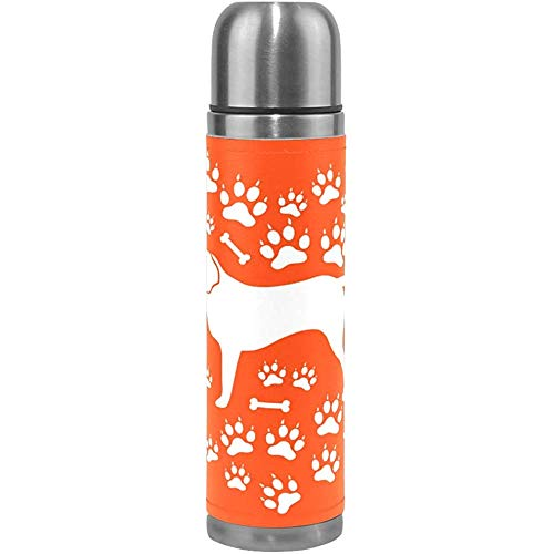 Rottweiler Dogs Paw Isolierte Wasserflasche Edelstahl Doppelwandig, Orange Love Animal Vakuum-Thermoskanne Flaschen
