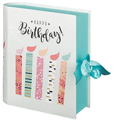 Idena 30206 - Geschenkbox Buch Happy Birthday, Größe 23x19x7 cm, Geburtstag, Geschenkkarton, Geschenkverpackung, Geschenkschachtel, Party