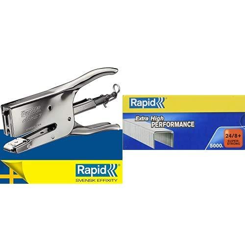 Rapid Classic K1 Cucitrice a Pinza , Compatibile con i Punti Metallici 24/6 e 24/8 mm, Capacità 50 Fogli, Metallo, Cromo, 10510601 + RAPID Punti metallici Super Strong 24/8+ - 24860100