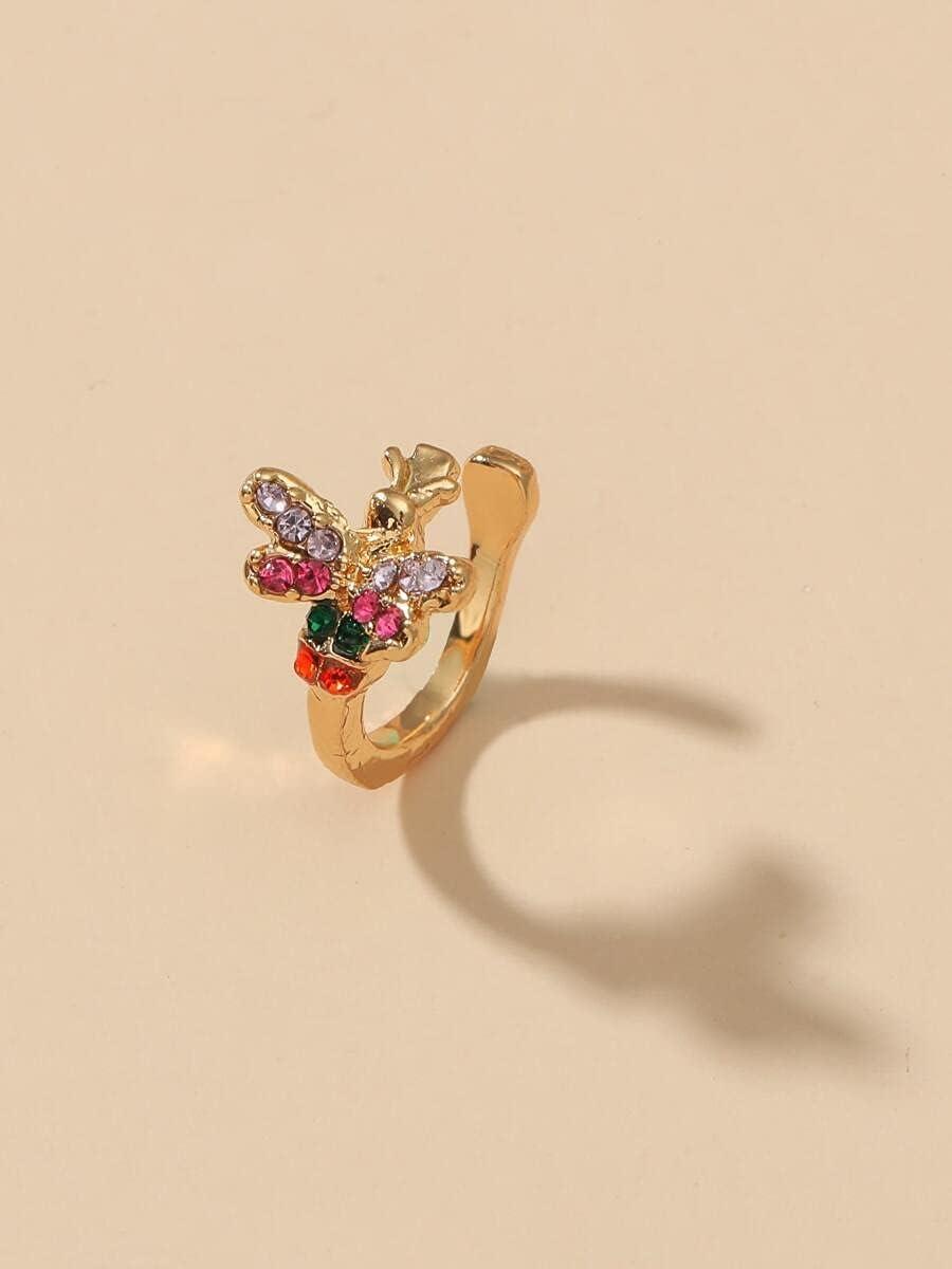 xiangshang shangmao Hoop Earrings Rhinestone Decor Ear Cuff (Color : Gold)