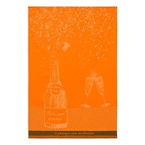 Coucke Bouteille Prestige Paño de Cocina, diseño de Flores, Color Naranja, algodón, 50 x 75 cm