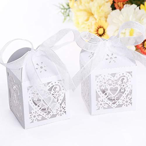 ele ELEOPTON Boîte de Bonbons, Boîte Cadeaux pour Mariages (100 Pièces, Coeur Blanc)