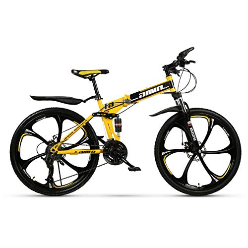 QXue 24 Inches Mountain Bike for Men and Women, High Carbon Steel Dual Suspension Frame Mountain Bike, Variable Speed Wheel Folding Outroad Bike,Yellow,30 Speed