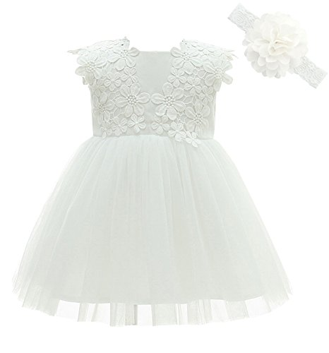 Greatop Baby Girls Dress Christening Baptism Party Formal Dress(White(Style 2),12M/12-15Month)