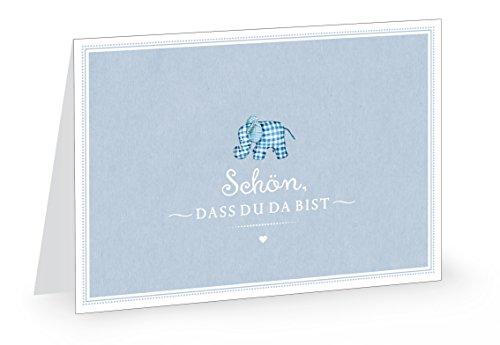 1 Glückwunschkarte zur Geburt Schön, dass du da bist Retro Grußkarte für Jungen in BLAU mit Elefant Karo Klappgrußkarte Geburtskarte Babykarte Mit Umschlag