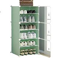 JJZXD 小さな靴キャビネット、寮防塵布靴収納靴棚、グリーン、44x32x96cm