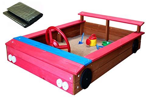 Coemo Sandkasten rotes Auto aus Holz inkl Abdeckplane Holzsandkasten Lenkrad