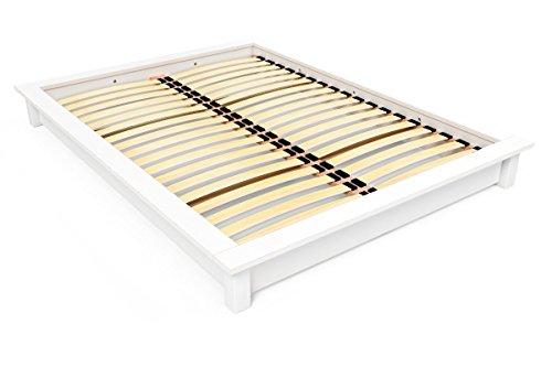 ABC MEUBLES – Lit futon Solide en Bois – 2 Places – Solide – Blanc, 140 x 190
