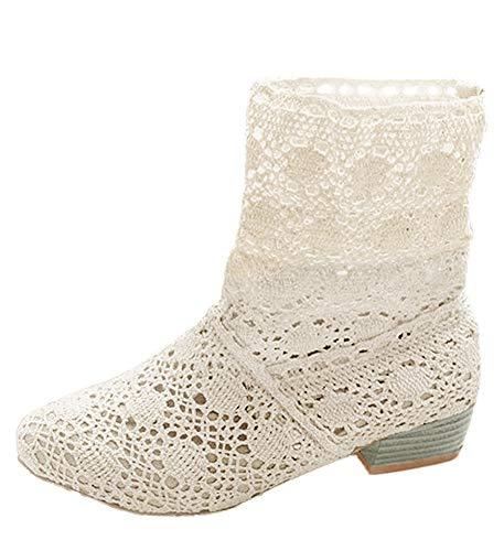 Minetom Mujer Verano Otoño Sandalias de Cuña Platform Tobillo Boots Respirable Encaje Hueco...