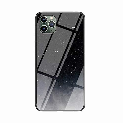 Miagon Glas Handyhülle für iPhone 11 Pro Max,Himmel Serie 9H Panzerglas Rückseite mit Weicher Silikon Rahmen Kratzresistent Bumper Hülle für iPhone 11 Pro Max,Schwarz