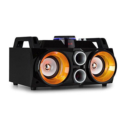 FENTON MDJ100 - Media-Player, USB, SD, Bluetooth, AUX, Amplificatore 100W, Altoparlanti 2x4, Illuminazione RGB-LED, Batteria Integrata, 4 Ore di Autonomia, Telecomando, Maniglia Trasporto