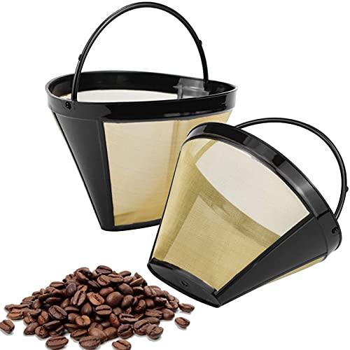 Filtro Reutilizable para Café,2 Piezas Accesorios de Café Metal,Reutilizable Filtro de Café de Goteo,Filtro de Café Reutilizable en Forma de Cono,con Mango para Mayoría Cafeteras (Dorado)