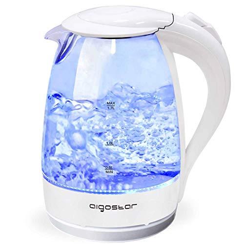 Aigostar Eve 30GON - Glas Wasserkocher mit LED-Beleuchtung, 2200 Watt, 1,7 Liter, kochtrocknender Schutz, BPA frei, weiß.
