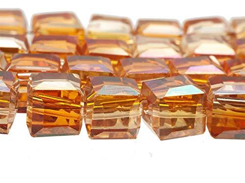 Creative-kralen glasparels dobbelsteen 6 mm. ca. 90 stuks honing AB ketting oorbel armband sieraden zelf maken, oprijgen, knutselen,