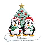 Personalized Penguin Family of 2 Christmas Tree Ornament 2019 - Happy Cute Couple Sibling Friend Santa Hat Glitter Playful Snow Romantic Traditional Winter Gift Year - Free Customization (Two)
