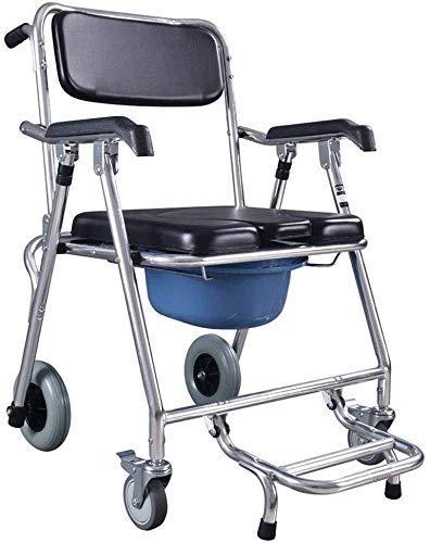 Z-SEAT Silla móvil Asiento Silla de Ducha Silla de Inodoro con Ruedas Cómoda, Inodoro Plegable Silla de baño para Taburete Ancianos discapacitados