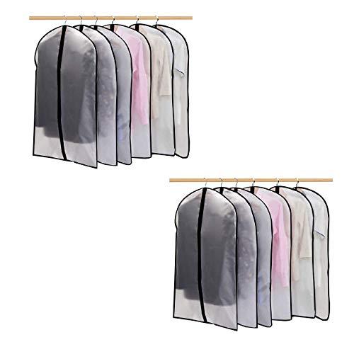 Bolsa de Ropa Transparente 60cm x 140cm Vestido Largo a Prueba de polillas Bolsas de Ropa Cubierta de Polvo con Cremallera Completa Transpirable Blanca para guardarropas Paquete de 6/12 (12)